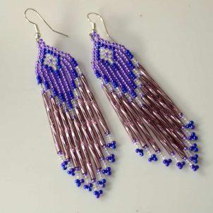 Rena Charles Beaded Earrings Purple