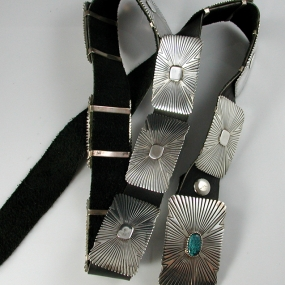 Silver Concho Belt by Leo Yazzie