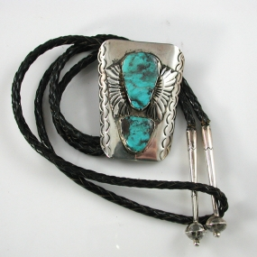 Navajo Bolo Tie with Bisbee Turquoise