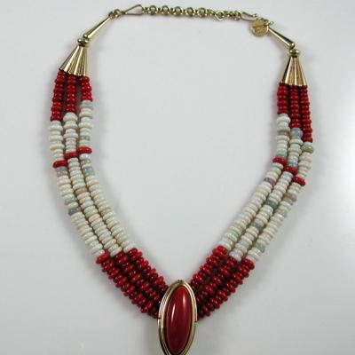 Coral/Opal Bead Necklace by Larry Vasquez