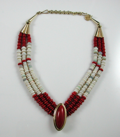 Coral/Opal Bead Necklace by Larry Vasquez
