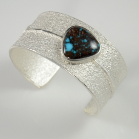 Silver and Bisbee Turquoise Bracelet by Darryl Dean Begay