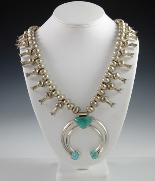 Navajo Squash Blossom Necklace with Blue Gem Turquoise