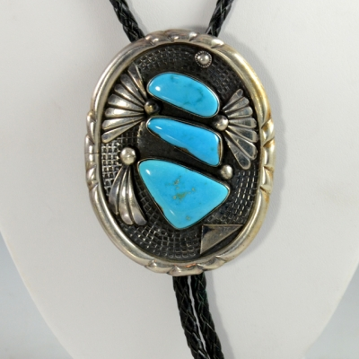 Sedona Indian Jewelry, Silver Blue Gem Turquoise Bolo Tie