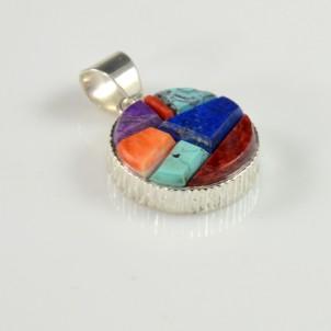 Multi Stone Inlaid Pendant by Earl Plummer, Sedona Indian Jewelry