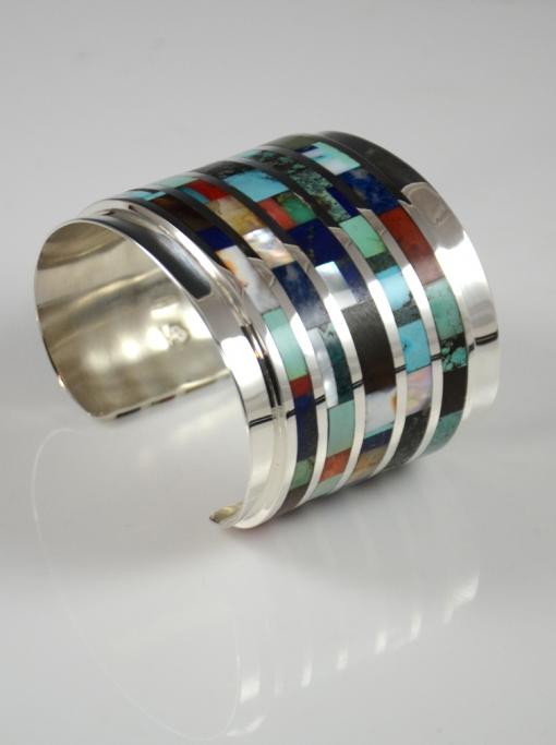 Multi Stone Navajo Inlaid Bracelet by Vernon Begaye
