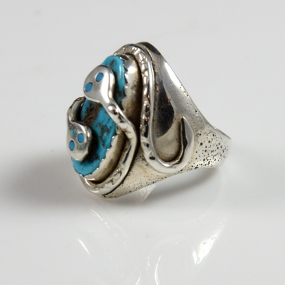 Silver and Sleeping Beauty turquoise Ring by Effie Calavaza