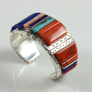 Silver Inlaid Bracelet by Wes Willie Sedona Indian Jewelry