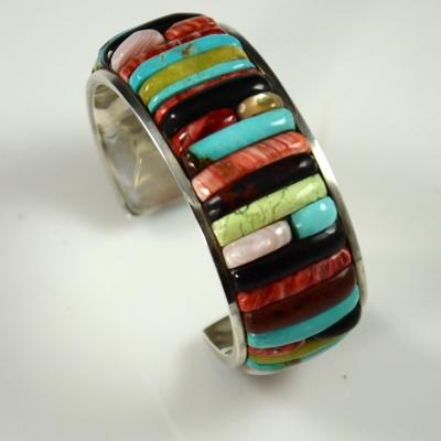 Carlos Eagle Silver Inlaid Bracelet