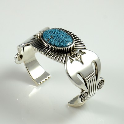 Navajo Bracelet with Kingman Turquoise by Jennifer Curtis
