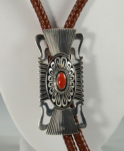 Silver and Coral Bolo Tie by Steven Begay