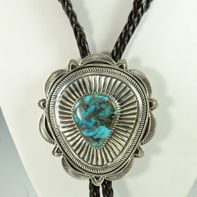 Silver and Morenci Turquoise Bola Tie by Allison Lee