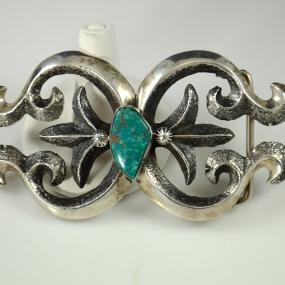 Silver Turquoise Belt Buckle by John Hornbeck