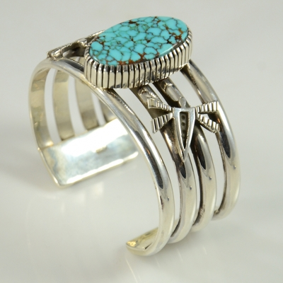Silver and Nevada Blue Turquoise Bracelet by Kee Yazzie