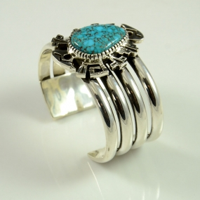 Navajo Silver and Lone Mountain Turquoise Bracelet by Kee Yazzie