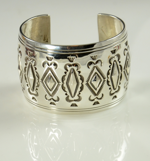 Handmade Sterling Silver Stamped and Repousse Bracelet by Fidel Bahe