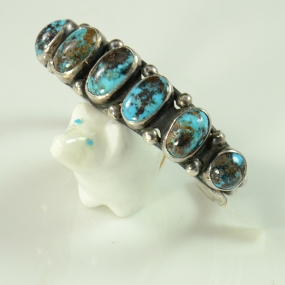 Vintage Sterling Silver Row Bracelet with Persian Turquoise, Sedona Native American Jewelry, Turquoise Jewelry, Turquoise Bracelet, Sedona Indian Jewlry