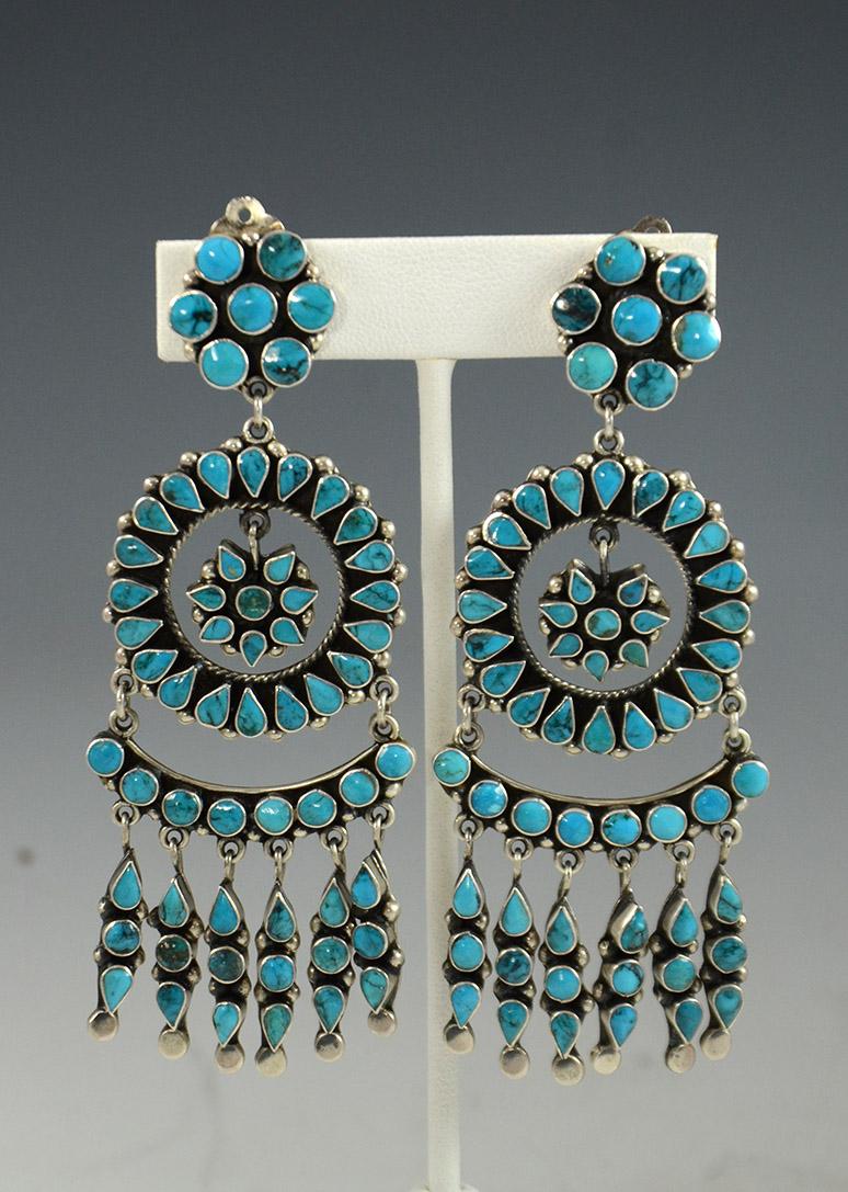 Large Silver And Turquoise Earrings By Navajo Artists Joanne Felix Tsinijinnie Sedona Jewelry