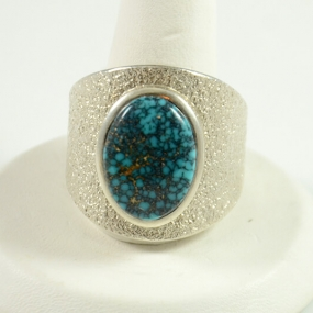 Silver and Lone Mountain Turquoise Ring by Navajo Artist, Darryl Dean Begay, Sedona Indian Jewelry, Turquoise Jewelry