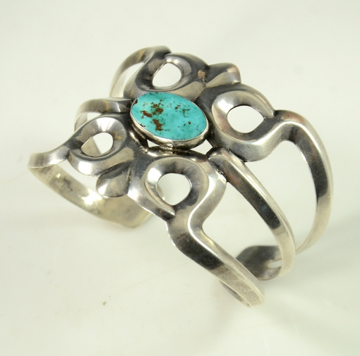 Vintage Sterling Silver Sandcast Navajo Arts and Crafts Guild Bracelet with Natural Turquoise, Circa 1960's.