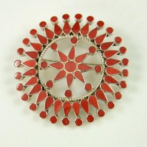 Zuni Coral Pin by Fadrian Bowannie