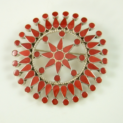 Zuni Coral Pin by Fadrian Bowannie