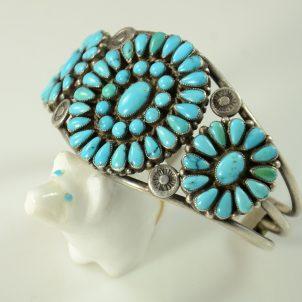 Vintage Zuni Cluster Bracelet, Flagstaff Indian Jewelry, Sedona Indian Jewelry