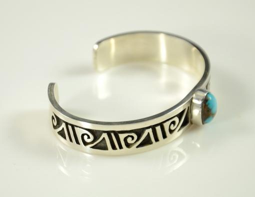 Silver Overlay Bracelet with Bisbee turquoise by Hopi Arist Eddie Scott, Hopi Jewelry, Sedona Indian Jewelry, Flagstaff Native American