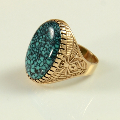 14kt Gold and Chinese Turquoise ring by Andy Lee Kirk