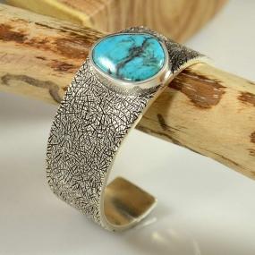 Sterling Silver Bisbee Turquoise Bracelet by Craig Agoodie