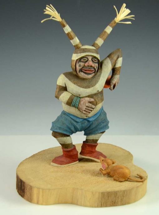 Koyala Kachina with Mouse by Hopi Artist, Ted Pavatea