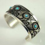 Navajo Silver Hummingbird Bracelet by Philbert Begay