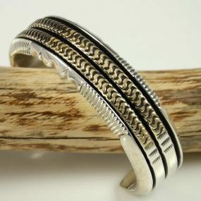 Navajo Silver and Gold Bracelet by Leonard Nez