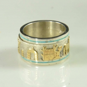 Navajo Gold on Silver Ring by Robert Taylor
