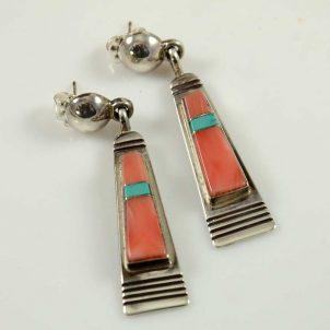 Navajo Inlay Earrings by Leo Yazzie