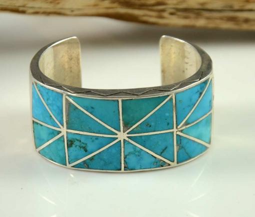 Vintage Navajo Blue Gem Turquoise Bracelet by Ambrose Lincoln