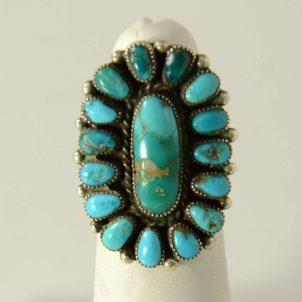 Turquoise Zuni Cluster Ring Vintage