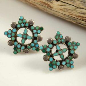 Vintage Dishta Zuni Turquoise Earrings