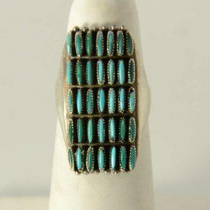 Zuni Turquoise Needlepoint Ring Vintage