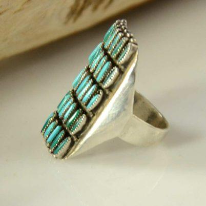 Zuni Needlepoint Turquoise Ring Vintage