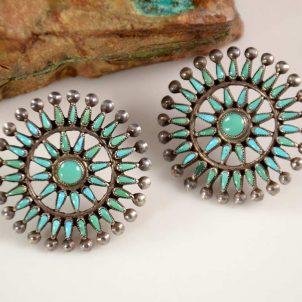 Vintage Needlepoint Zuni Turquoise Earrings