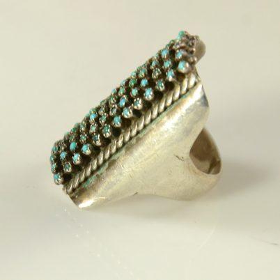 Turquoise Zuni Petit Point Ring Vintage