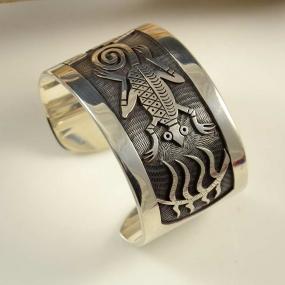 Beauford Dawahoya Silver Hopi Overlay Bracelet