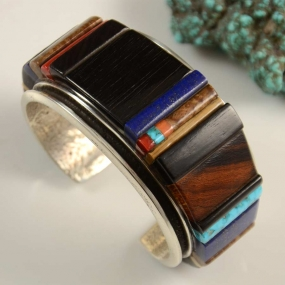 Edison Cummings Inlay Navajo Bracelet