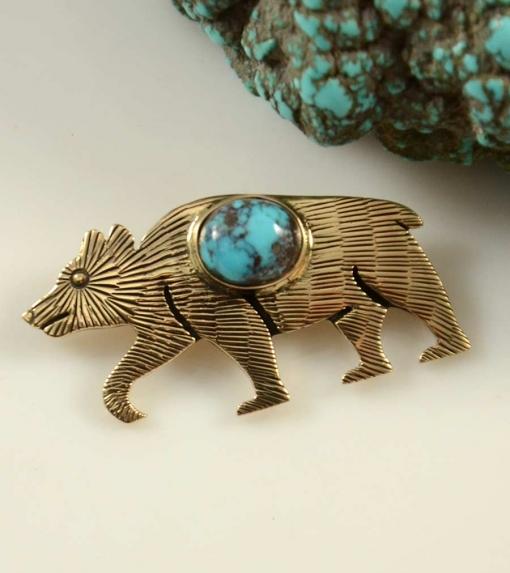 Ricky Coochwytewa Gold Bear Hopi Pendant