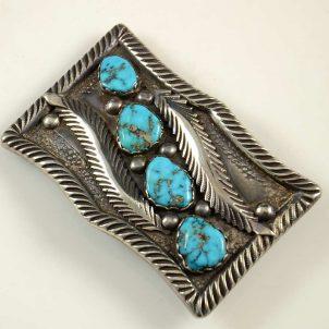 Vintage Mike Simplicio Zuni Turquoise Belt Buckle