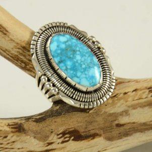 Wilbert Denetdale Navajo Ring Kingman Turquoise