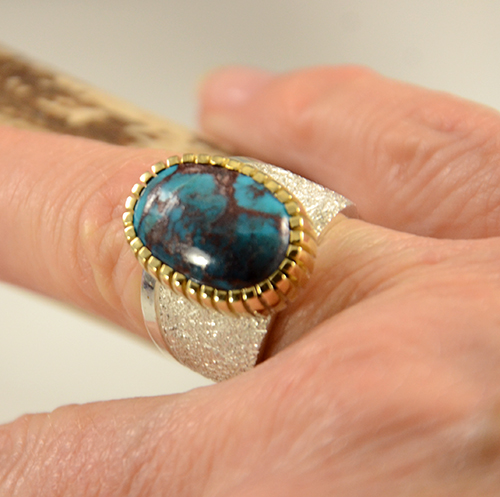 Craig Agoodie Silver Gold Bisbee Turquoise Ring