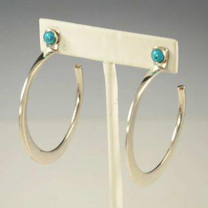 Edison Cummings Silver Turquoise Hoop Earrings