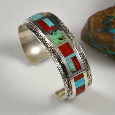 Vernon Begaye Navajo Bracelet Turquoise Coral